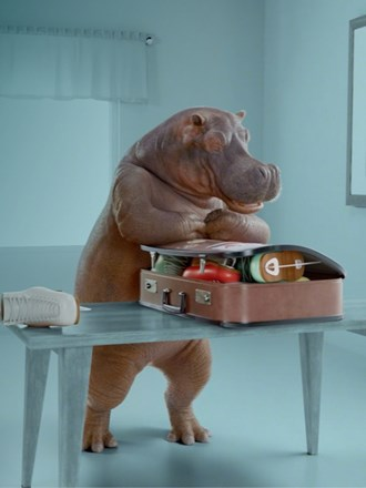 Instant Finance hippo packing a suitcase