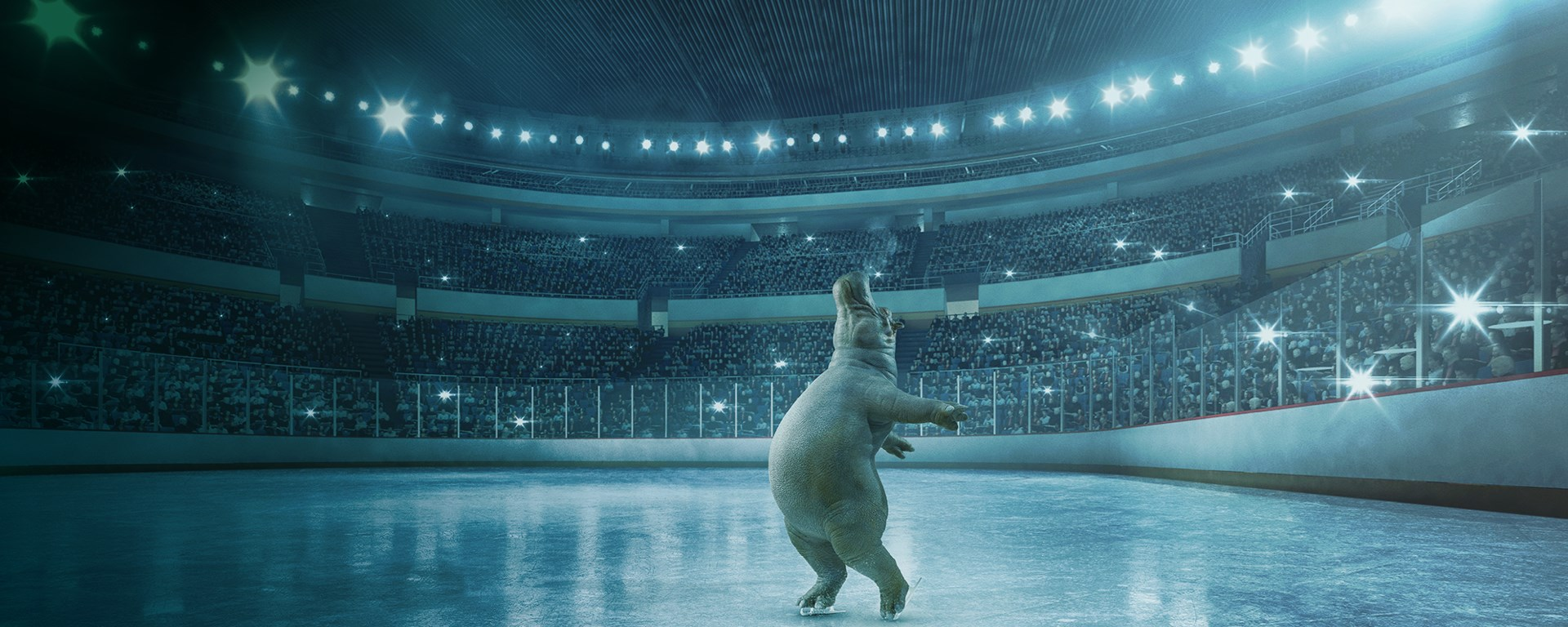 Instant Finance Hippo skating in a blue ice rink