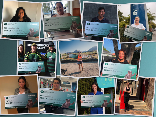 Montage of people with large cheques from Instant Finance